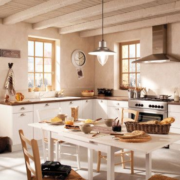 cuisine blanche - plafonds lattes bois | Cuisines | Pinterest ...