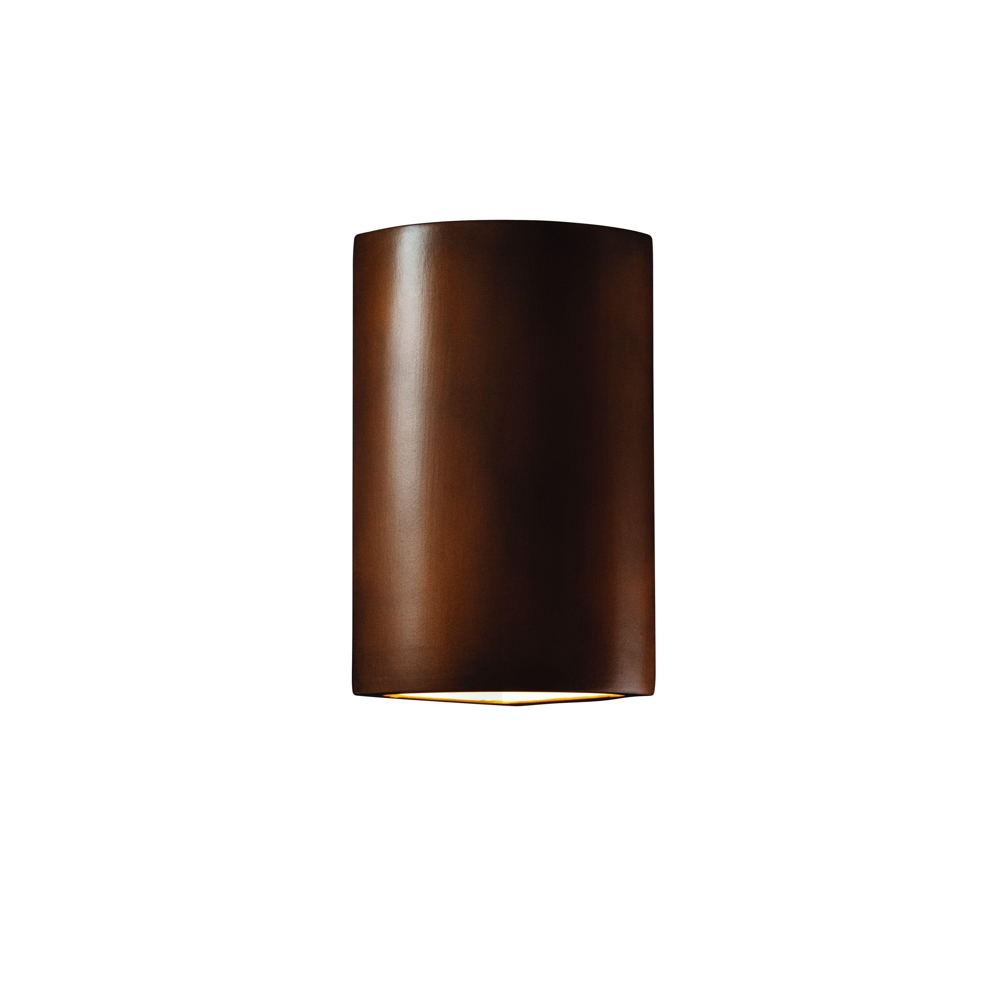 justice design group ambiance antique copper cylinder corner wall  - justice design group ambiance antique copper cylinder corner wall sconce