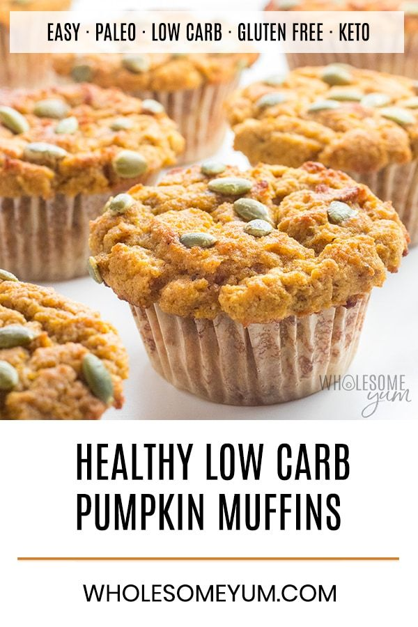 Healthy Pumpkin Muffins Recipe with Coconut Flour & Almond Flour - This easy, healthy pumpkin muffins recipe is made with coconut flour and almond flour (or flaxseed meal for nut-free). Low carb, gluten-free, and paleo! #flaxseedmealrecipes