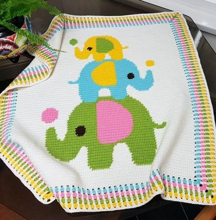Crochet Pattern For Elephant Blanket : Crochet Pattern Baby Blanket / Afghan - Three Elephants ...