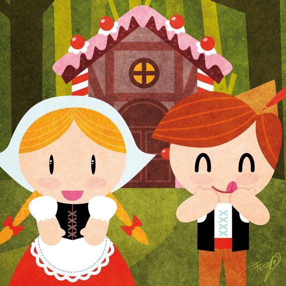 Tales Hansel And Gretel Print Children Kids Illustration Room Decoration Hansel Y Gretel Manualidades Dibujos Para Ninos