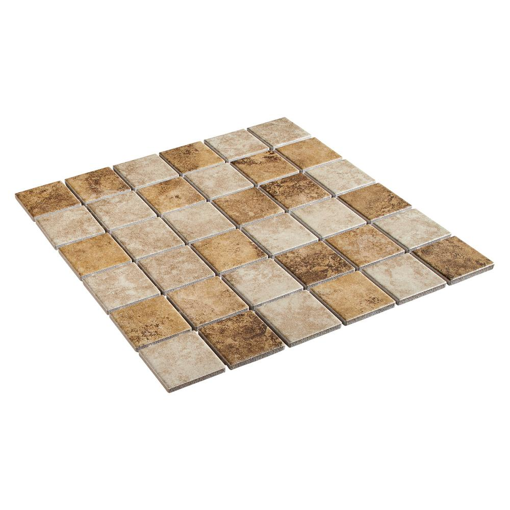 Daltile Rio Mesa Desert Sand 12 In X 12 In X 6 Mm Ceramic Mosaic Floor And Wall Tile 1 Sq Ft Piece Rm1022cc1p2 The Home Depot Mosaic Flooring Daltile Mosaic Wall Tiles