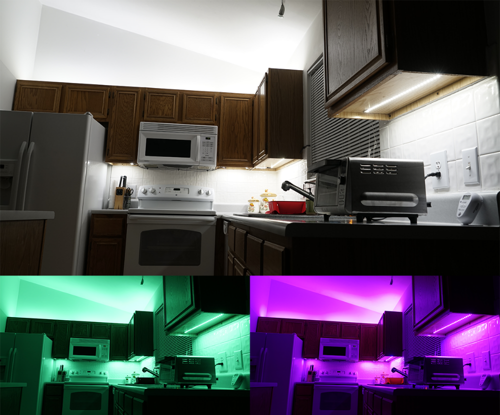 Above Cabinet And Under Cabinet Led Lighting How To Install Led Strip Lights Super Bright Leds Kitchen Led Lighting Installing Led Strips Strip Lighting