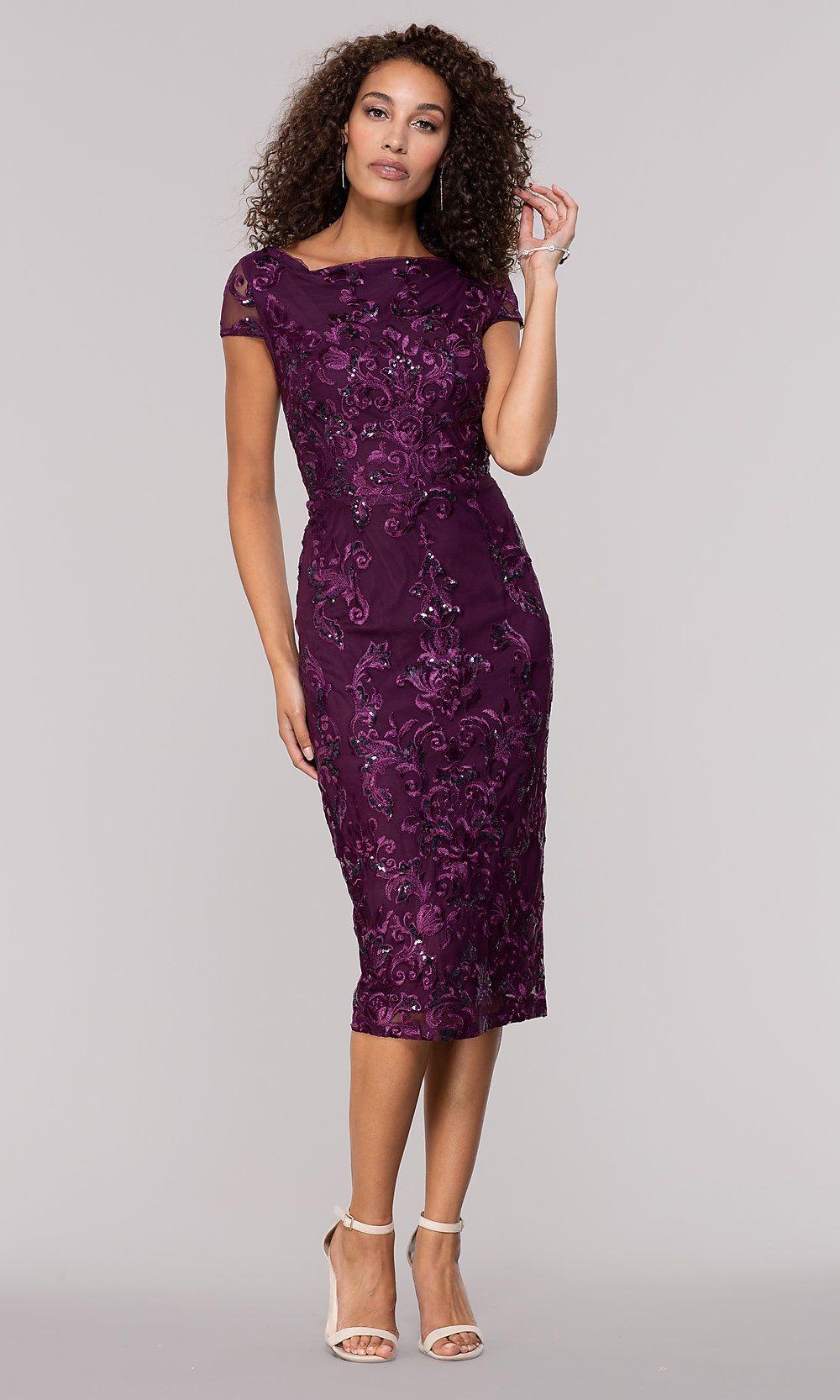 Eggplant Purple Knee Length Wedding Guest Dress In 2020 Purple