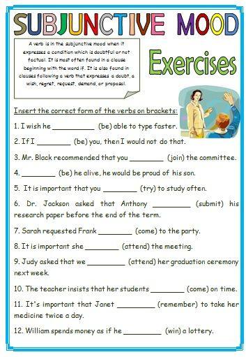 7 Free Subjunctive Mood Worksheets Middle School Mood Classroom Activities