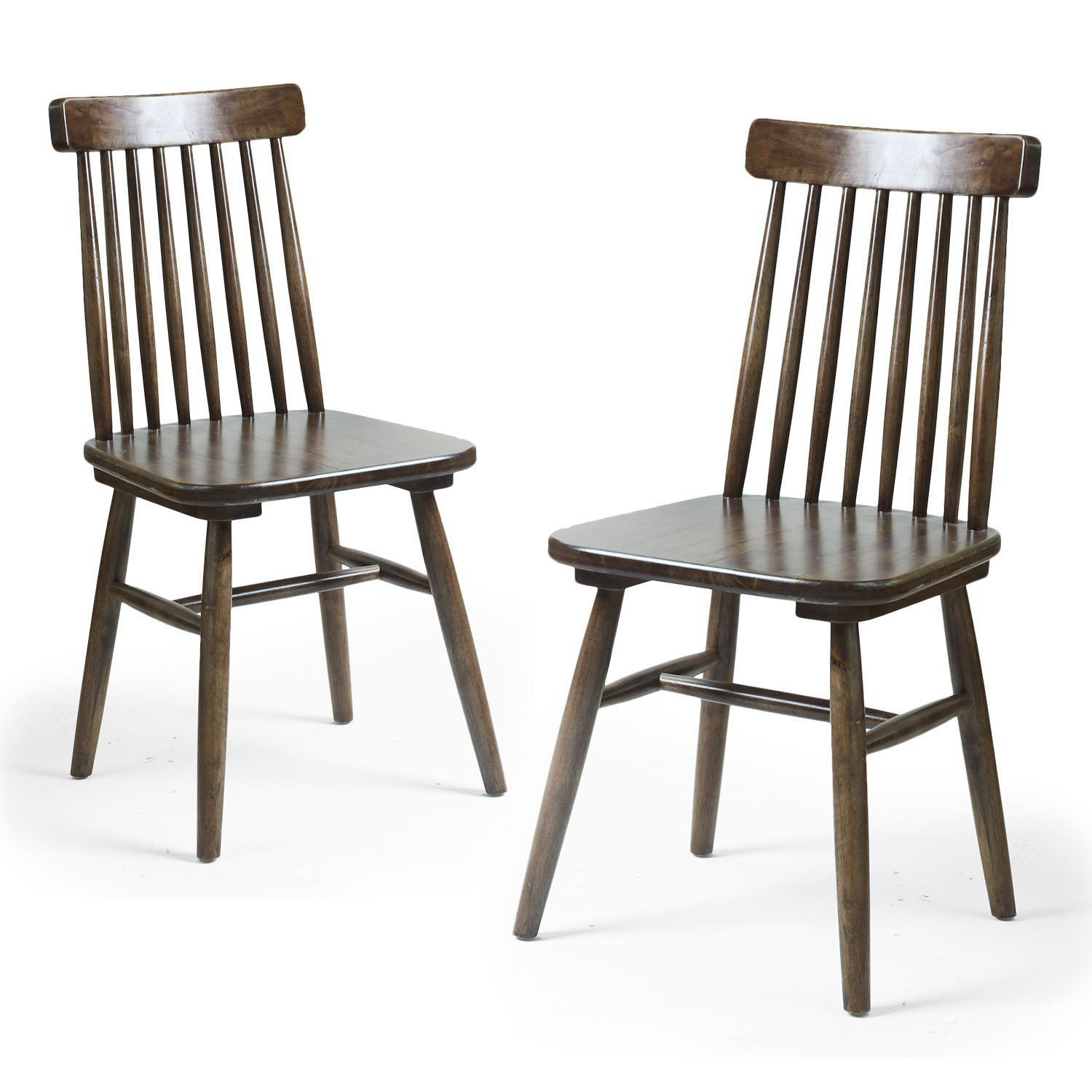 Vintage style dining chairs - Furnistar Elm Wood Vintage Style Dining Chair With Vertical Slat Back Set Of Two