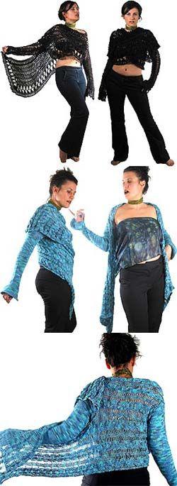 Stitch Diva Studios pattern - Cardi Wraps (hairpin lace & knit)  #onefineyarn.com