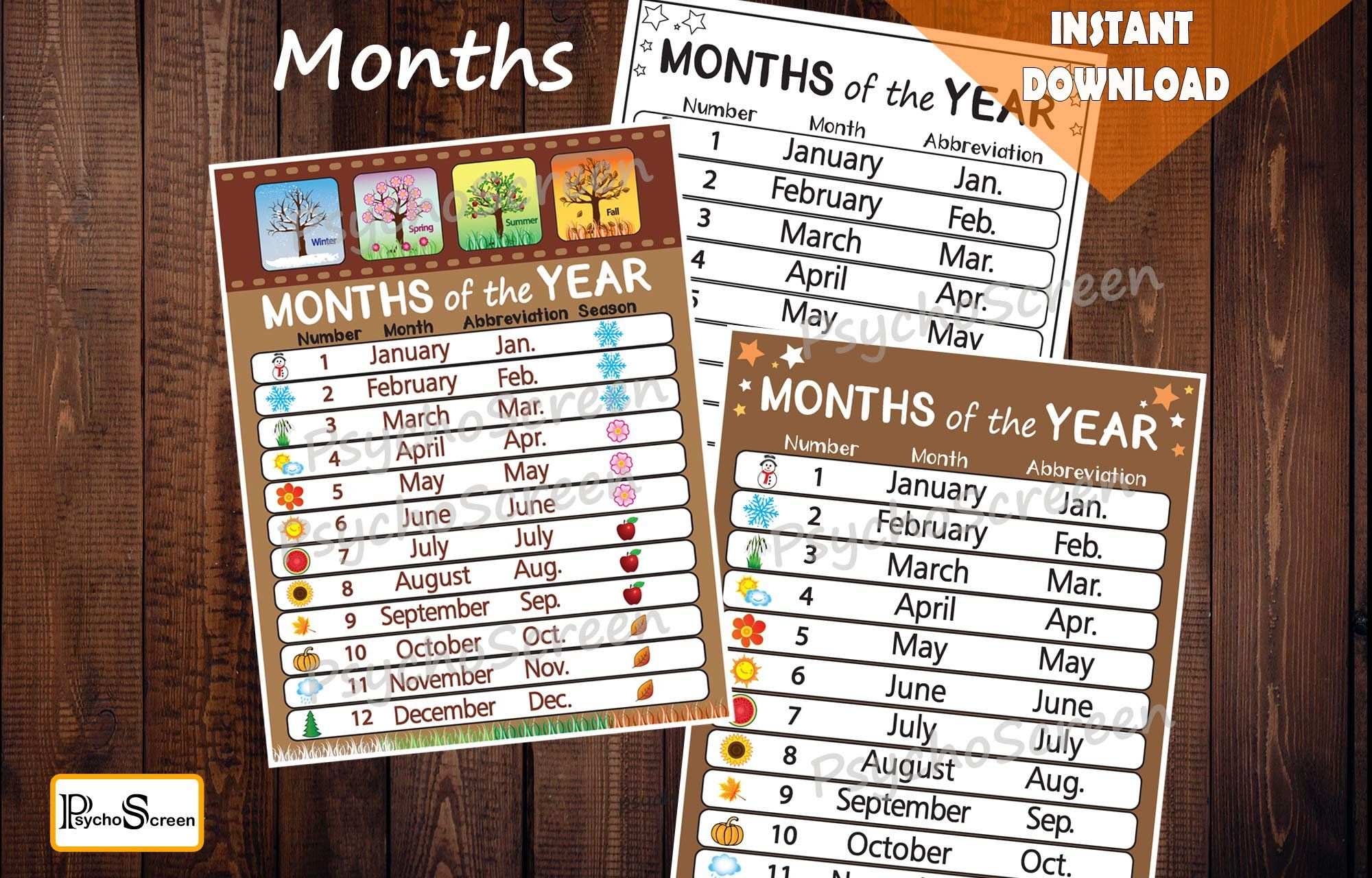 Brown Months Of The Year Posters And Worksheets Perpetual
