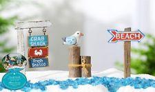 3 Pc Fairy Garden Beach Themed Figurines - Mini Coastal Miniature Planter Statue