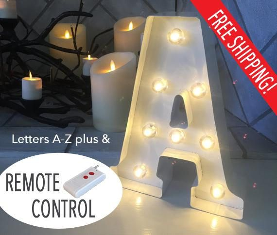 Light Up Letters With Remote 10 White Battery Powered Stand Up Or Wall Mount Light Bulb Le Light Up Letters Light Bulb Letters Lighted Marquee Letters