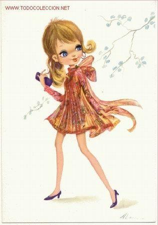 Preciosa Postal Divertido Dibujo Infantil Elegante Senorita Ano 1967 Big Eyes Art Vintage Postcards Art