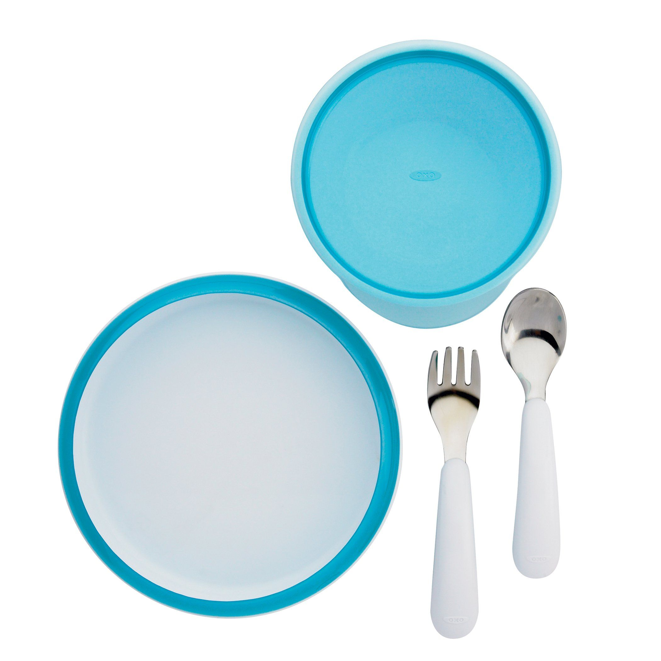 Oxo Tot 4-piece Feeding Set Green Child Cutlery Baby Training Plate Food Bowl Quality First
