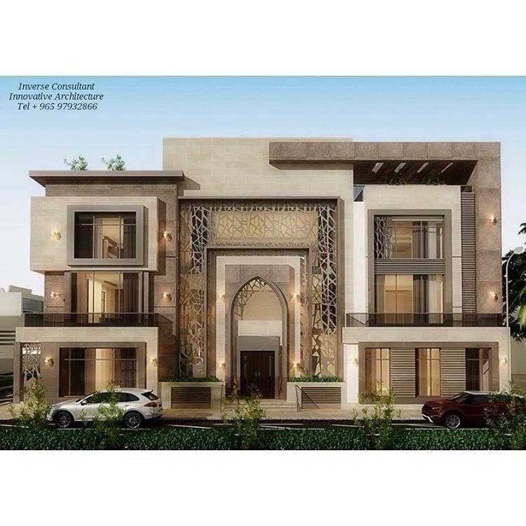 نقوم بتنفيذ تصاميم واجهات المنازل والفلل في الكويت ديكورات وزخارف جي ار سي ت 55013020 Villa Design House Exterior House Front Design