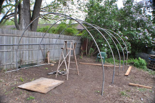 Bow construction for 12x16 foot backyard hoop-- using reclaimed