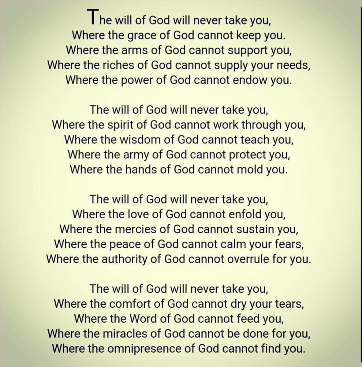 Image Result For The Will Of God Will Never Take You Where The