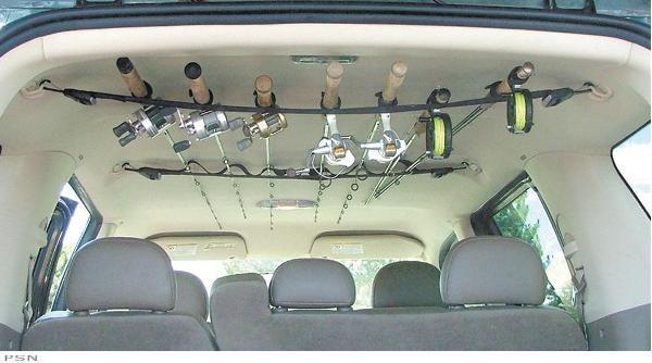 Berkley or rapala rod racks for inside a suv fishing for Fishing rod car rack