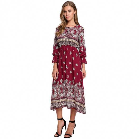 Womens Bohemian Style Long Sleeve Button Print Casual Long Maxi Dress