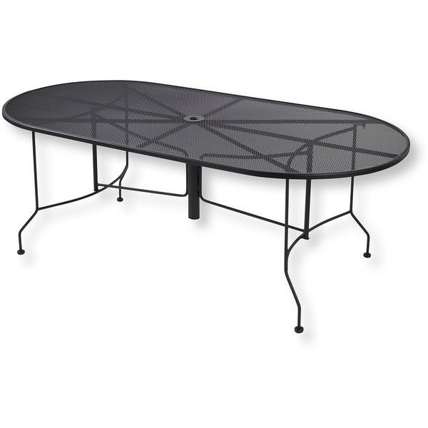 L.L.Bean Wrought Iron Garden Mesh Dining Table, Oval ($699) ❤ Liked