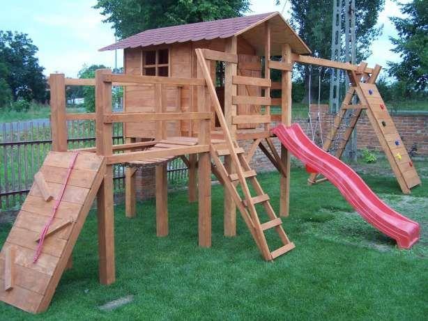 Drewniany plac zabaw FIGIEL zjezdzalnia hustawka piaskownica domek Siedliska - image 3