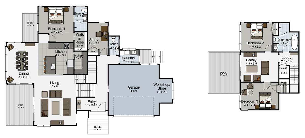 Edgewater 4 bedroom split level house plan landmark homes - 4 bedroom split level floor plans ...