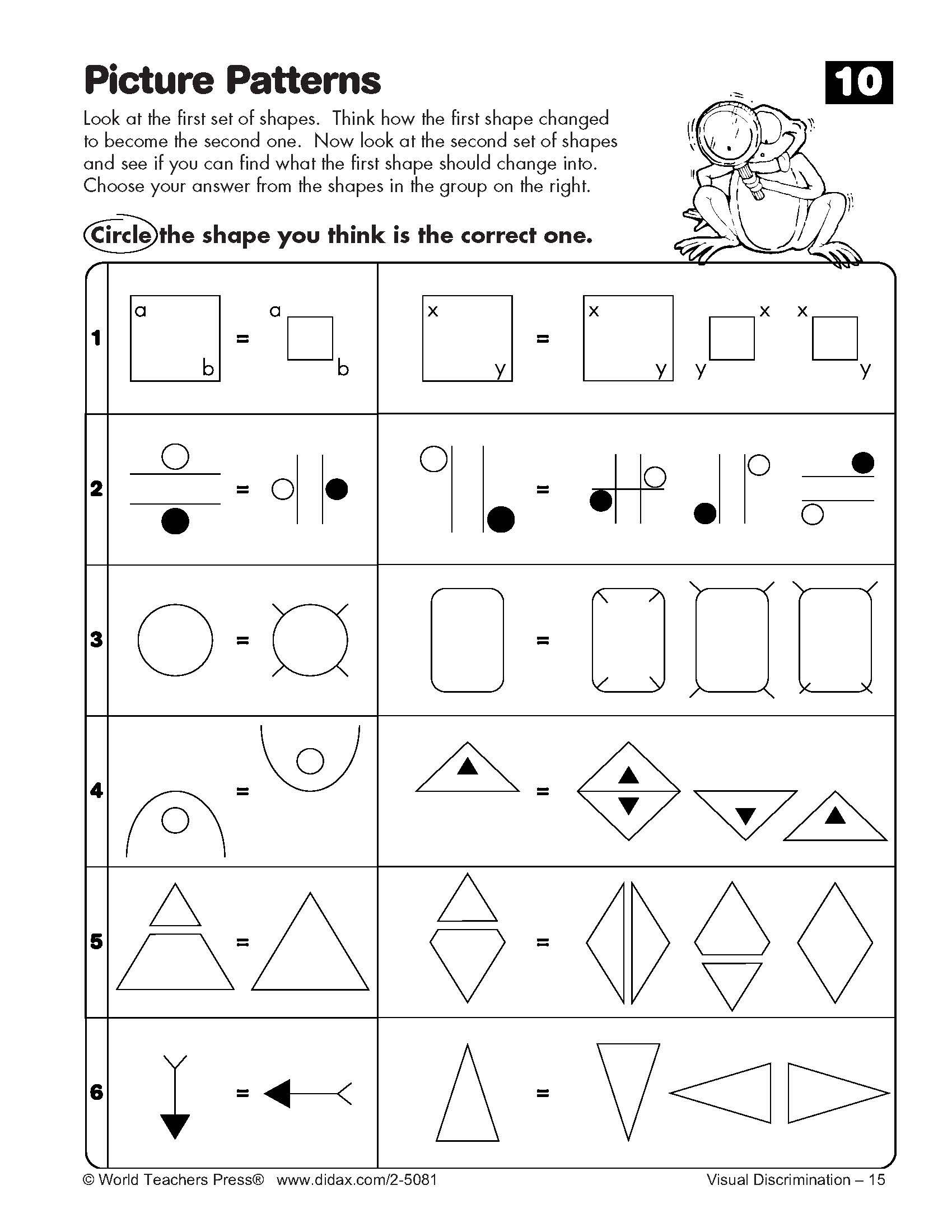 Visual Discrimination Kindergarten Math Worksheets Pattern Worksheet Math Worksheets