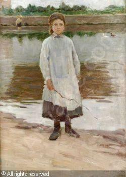 LE SIDANER Henri Eugène Augustin - Girl by a Duck Pond