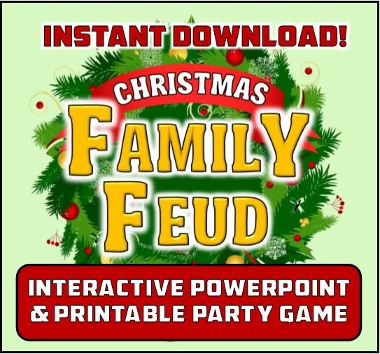 Christmas Family Feud Inspired Party Game – Interactive Powerpoint!