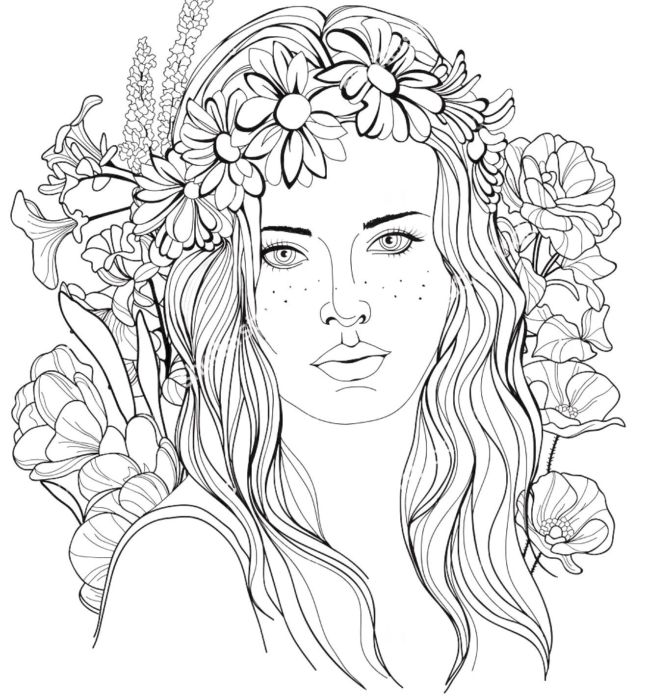 Coloring pages portraits - Image Of A Girl With A Floral Wreath In Her Hair Coloring Page