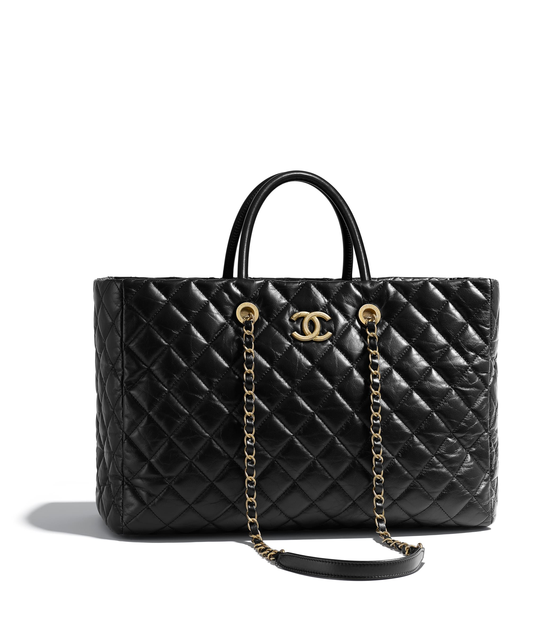 ff0b4a0f498473 Large Shopping Bag, aged calfskin & gold-tone metal, black - CHANEL ...
