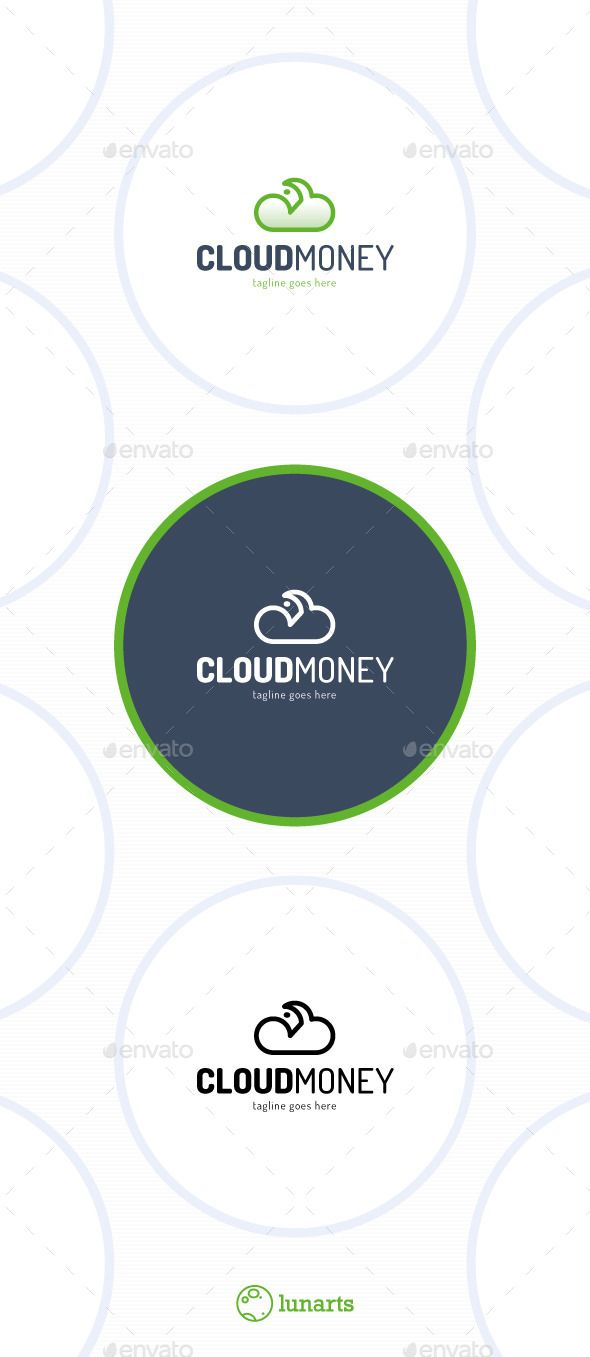 Cloud Money Logo — Vector EPS #hosting #green • Available here → https://graphicriver.net/item/cloud-money-logo/13269630?ref=pxcr