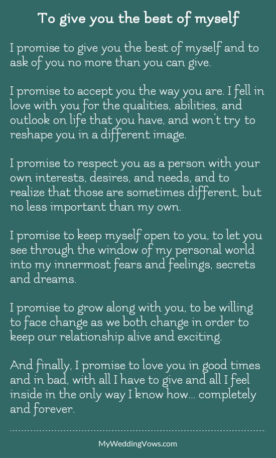 To Give You The Best Of Myself Traditional Wedding Vows Best Wedding Vows Wedding Vows To Husband