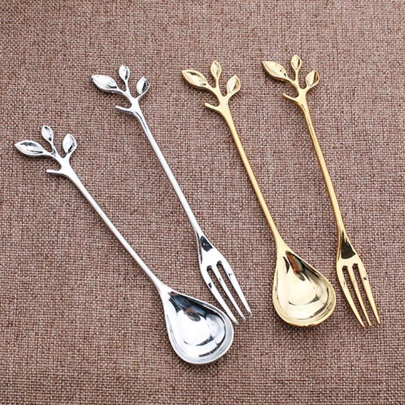 Mini Chic Gold And Leaf Stalk Tableware Stainless Steel Fruit Fork Silver Coffee Spoon Dessert Spoon European Style S15 Coffee Spoon Dessert Spoons Tableware