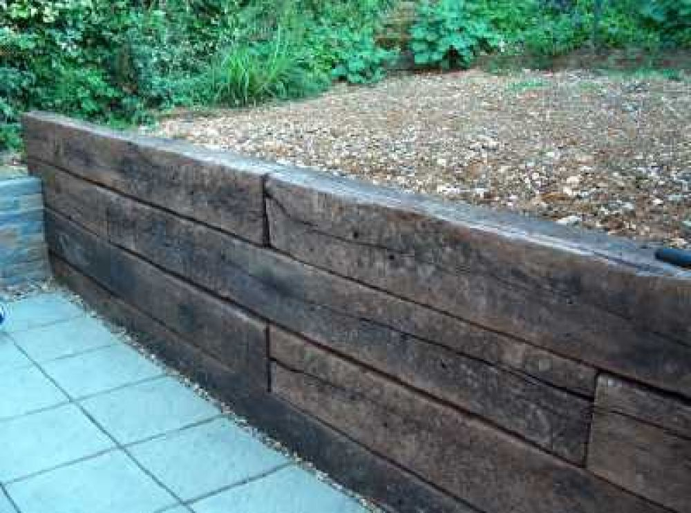Image result for uk railway sleepers as decking treggy for Garden decking sleepers