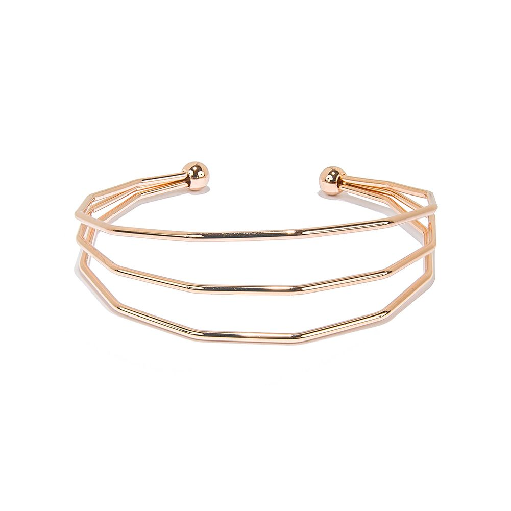 3 Strings Rose Gold Plated Hollow Cuff Bracelets Jewelry for Women