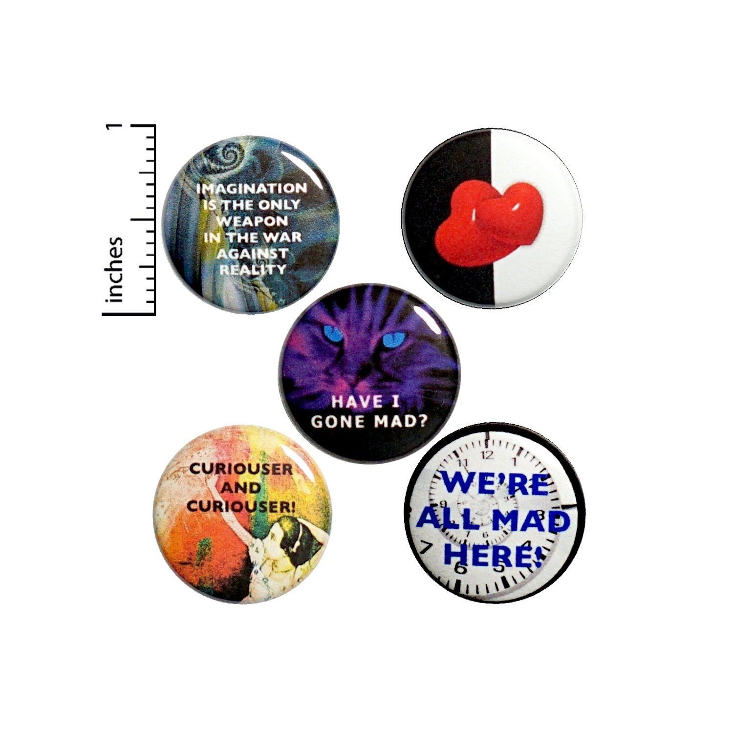 This Alice In Wonderland Button 5 Pack Is A Great Way To Celebrate One Of The Most Imaginative Stories Alice In Wonderland Edgy Gifts Alice In Wonderland Gifts