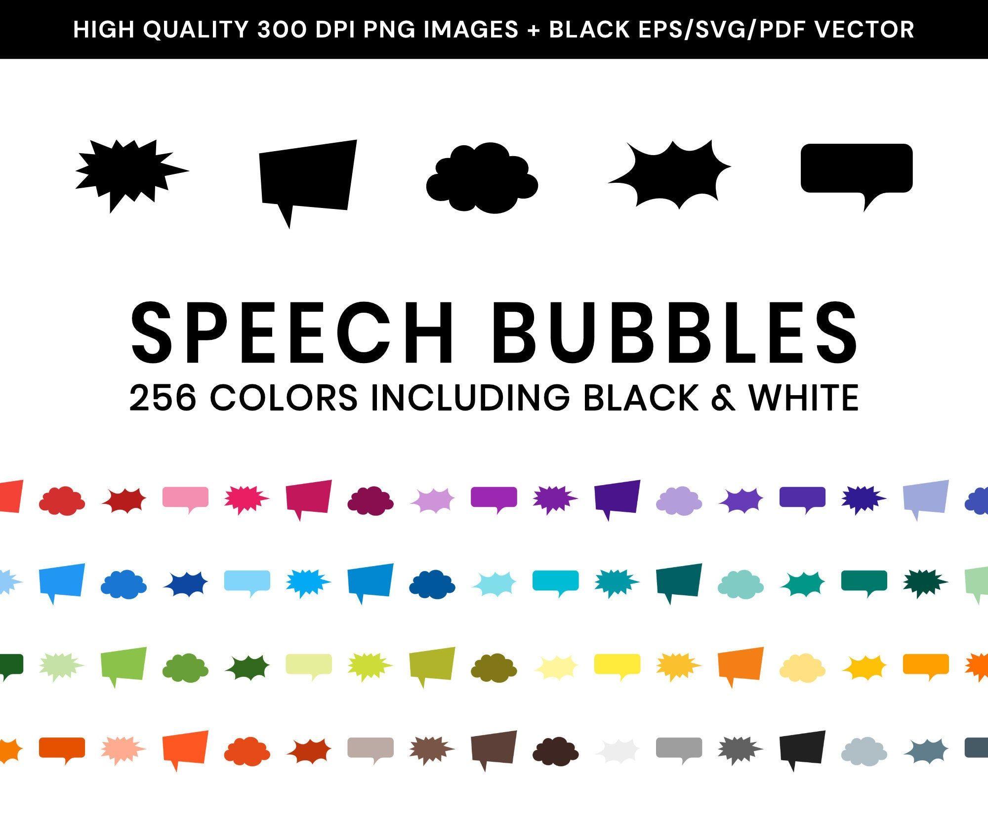 1280 Speech Bubble Clip Art MultiColored Comic Speech