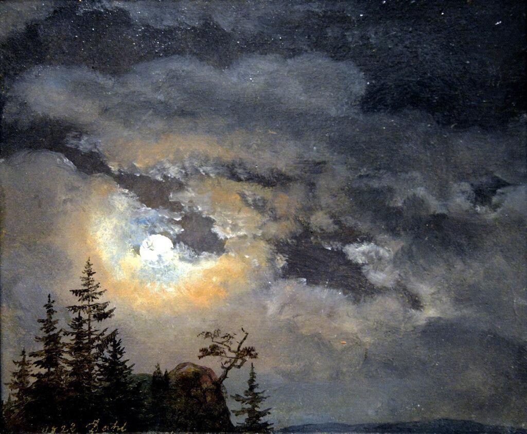 Johan Christian Dahl - A Cloud and Landscape Study by Moonlight, 1822 #art