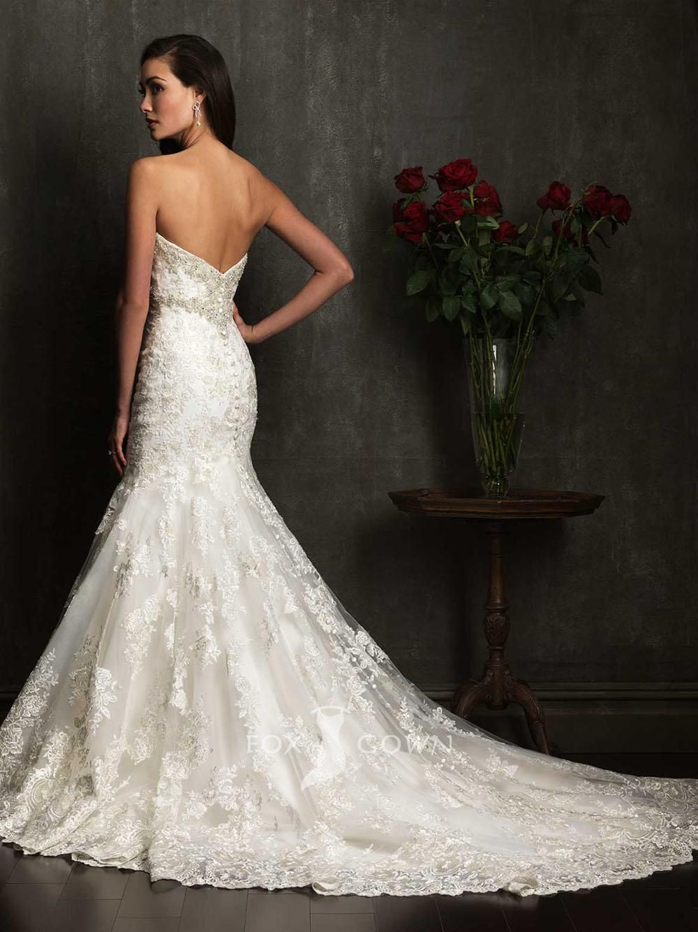 Edgy wedding dresses  gorgeous lace trumpet sweetheart strapless slim wedding dress allure