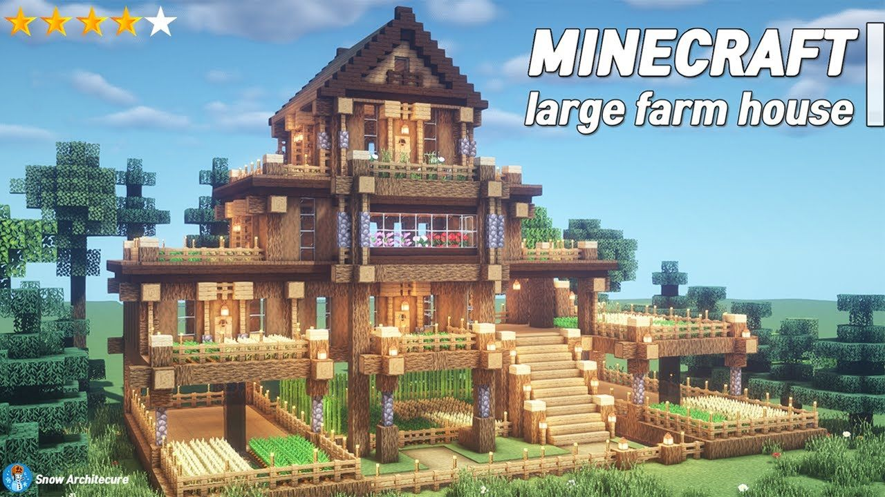 Minecraft Large Farm House Tutorial l how to build (20