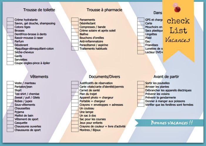 Check List Vacances Check List Vacances Liste De Vacances Et