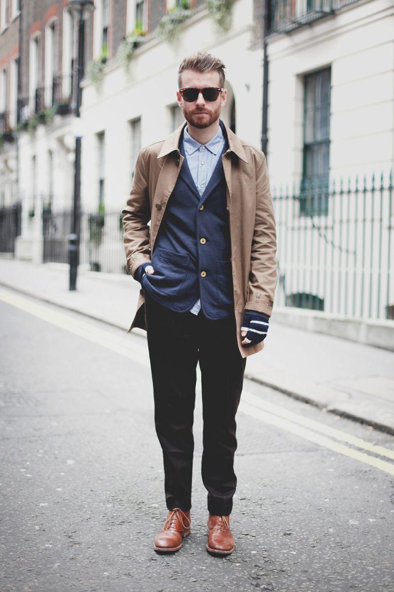 Men's Camel Overcoat, Navy Blazer, Blue Long Sleeve Shirt, Black ...