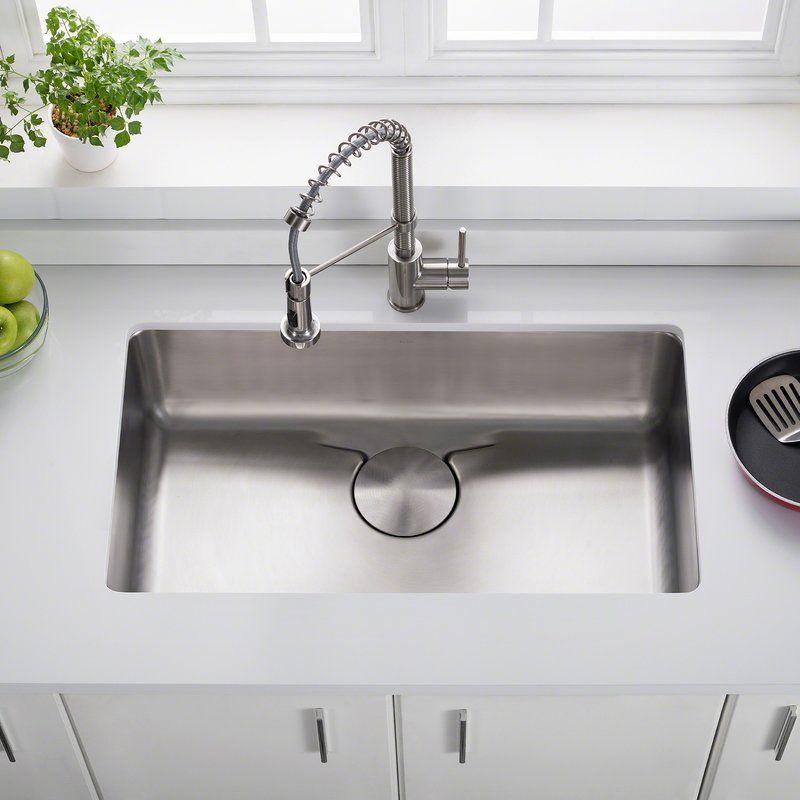 Dex Series Single Bowl 33 X 19 Undermount Kitchen Sink With Drain Assure Waterway Undermount Kitchen Sinks Single Bowl Kitchen Sink Kitchen Sink Kitchen sinks 33 x 19
