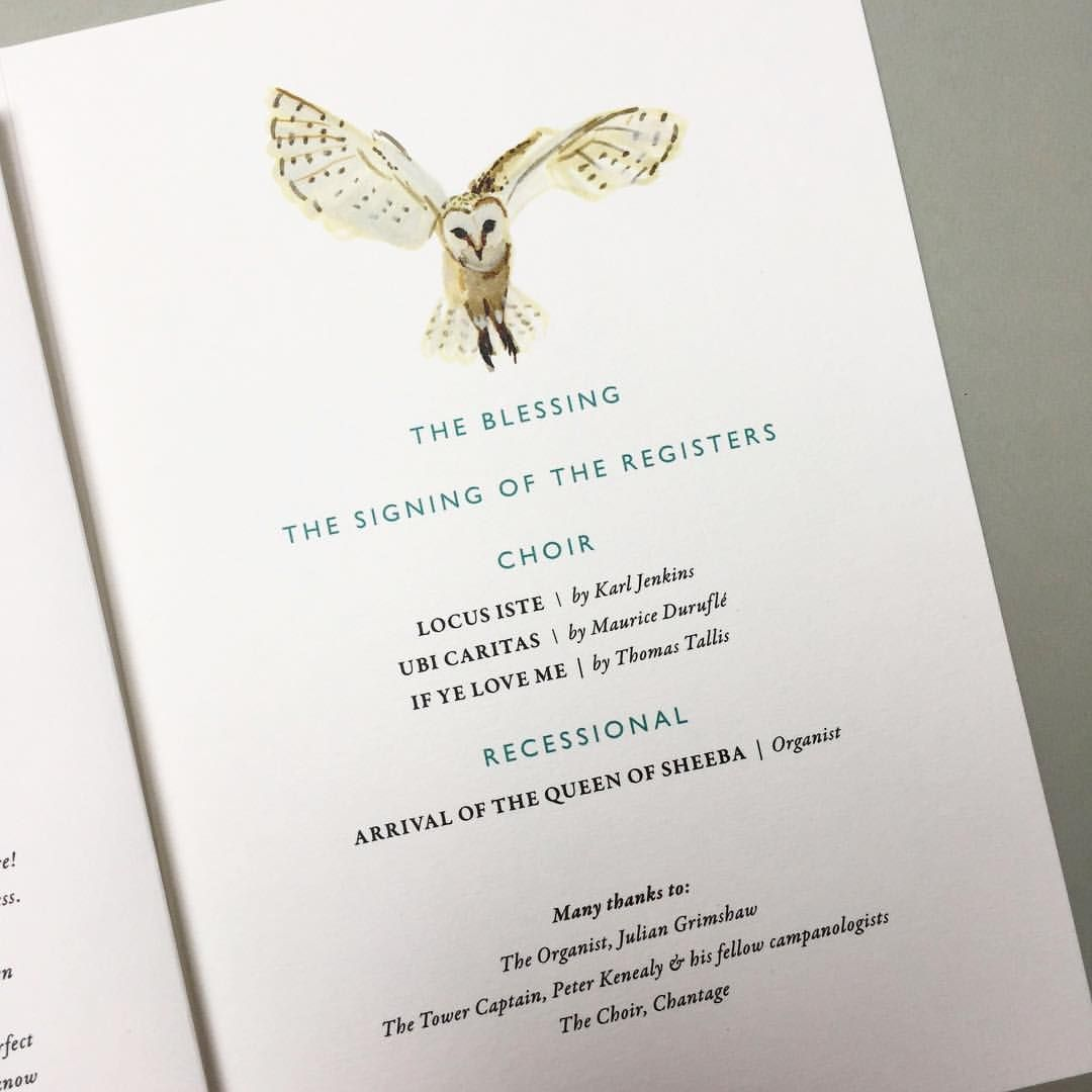 Wedding Order of Services with hand painted barn owl by Hollyhock ...