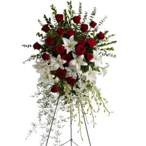 Lily And Rose Tribute Spray Flower Arrangement Walker Funeral Home Cincinnati Oh Www Herbwalker Co Funeral Flower Arrangements Funeral Floral Sympathy Flowers