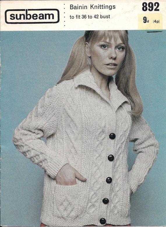 Aran Isles • 1960s Fisherman\'s Cardigan Pattern • Vintage Knitting ...