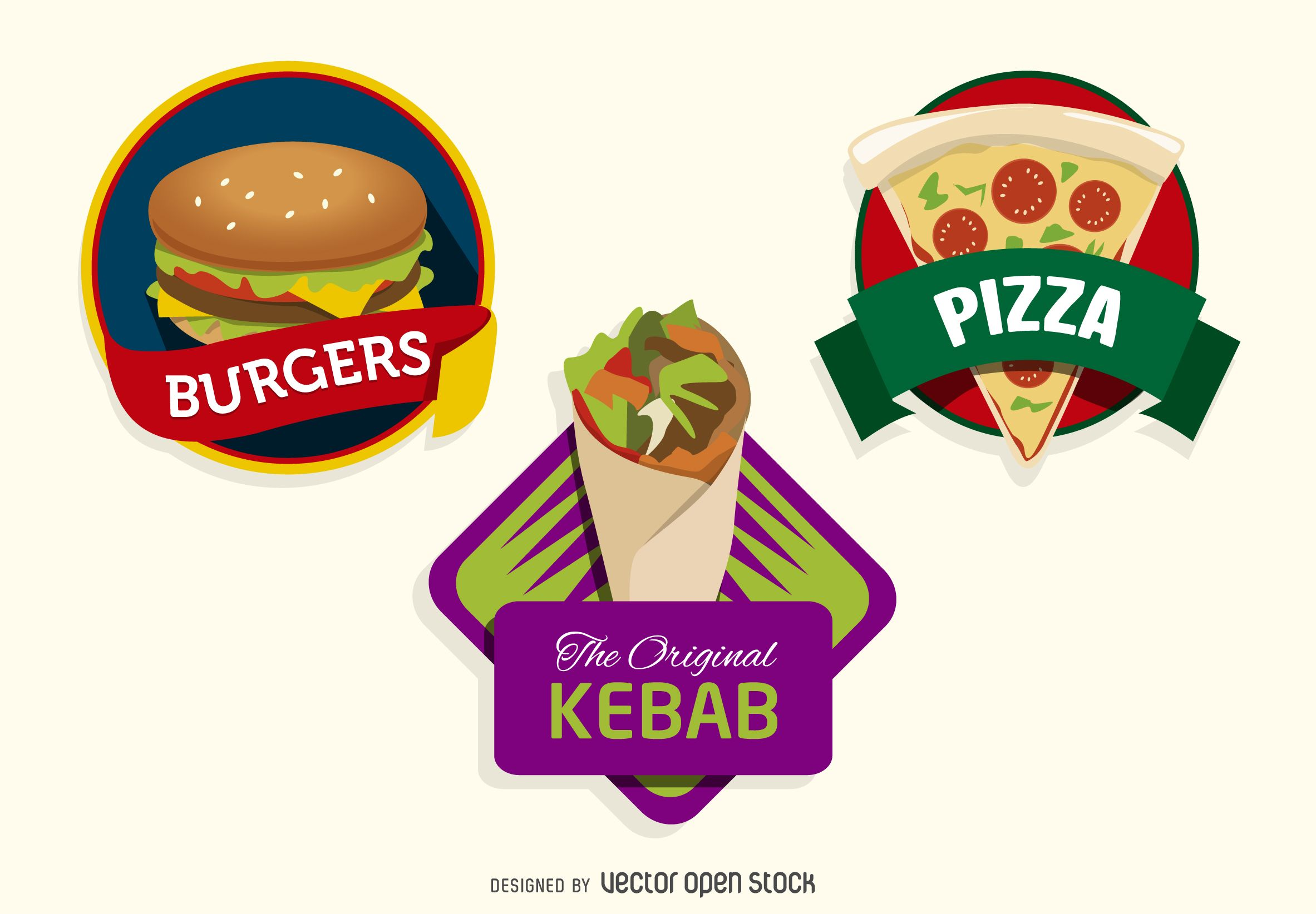 Kit containing 3 fast food logos. It features Burgers