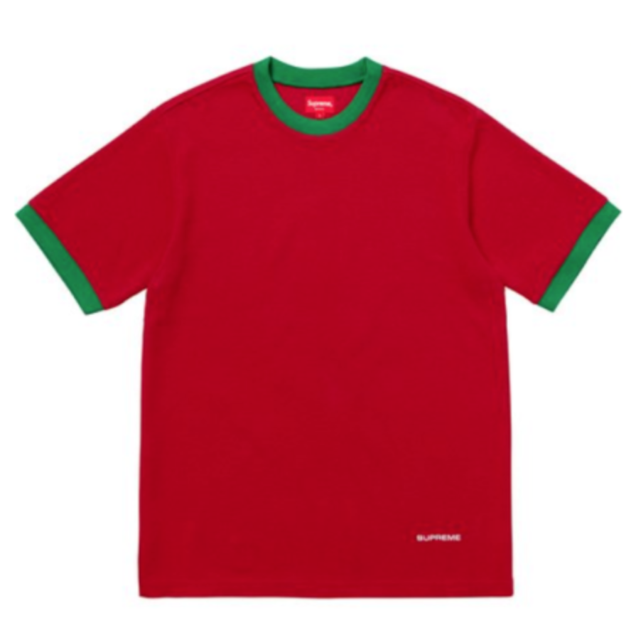 deede56ef3c3 FOR SALE  Supreme Shirt Waffle Ringer RED Green SIZE MEDIUM Authentic New  SS18