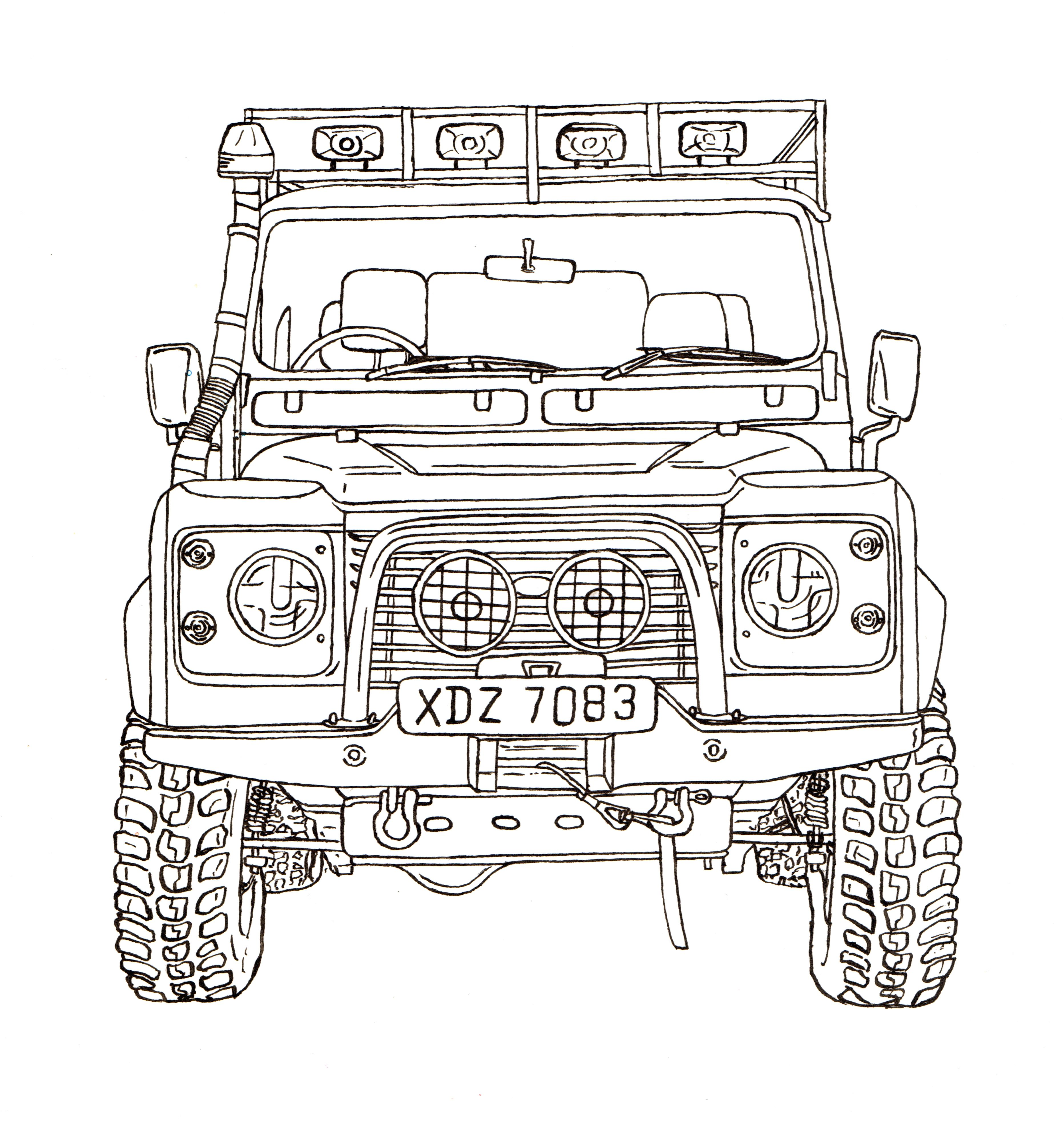 Land Rover Defender 90 Ink Drawing Land Rover Land Rover