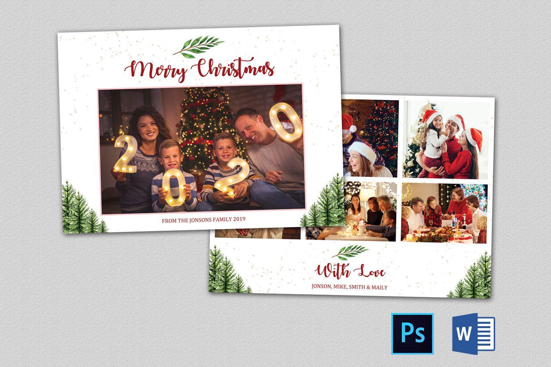 Christmas Photo Card Template 7x5 Editable Christmas Card Etsy Christmas Photo Card Template Photo Card Template Christmas Card Templates Free
