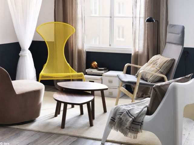 Petit salon fauteuils depareilles ikea h o m e pinterest salons tiny living rooms and - Fauteuil jaune ikea ...